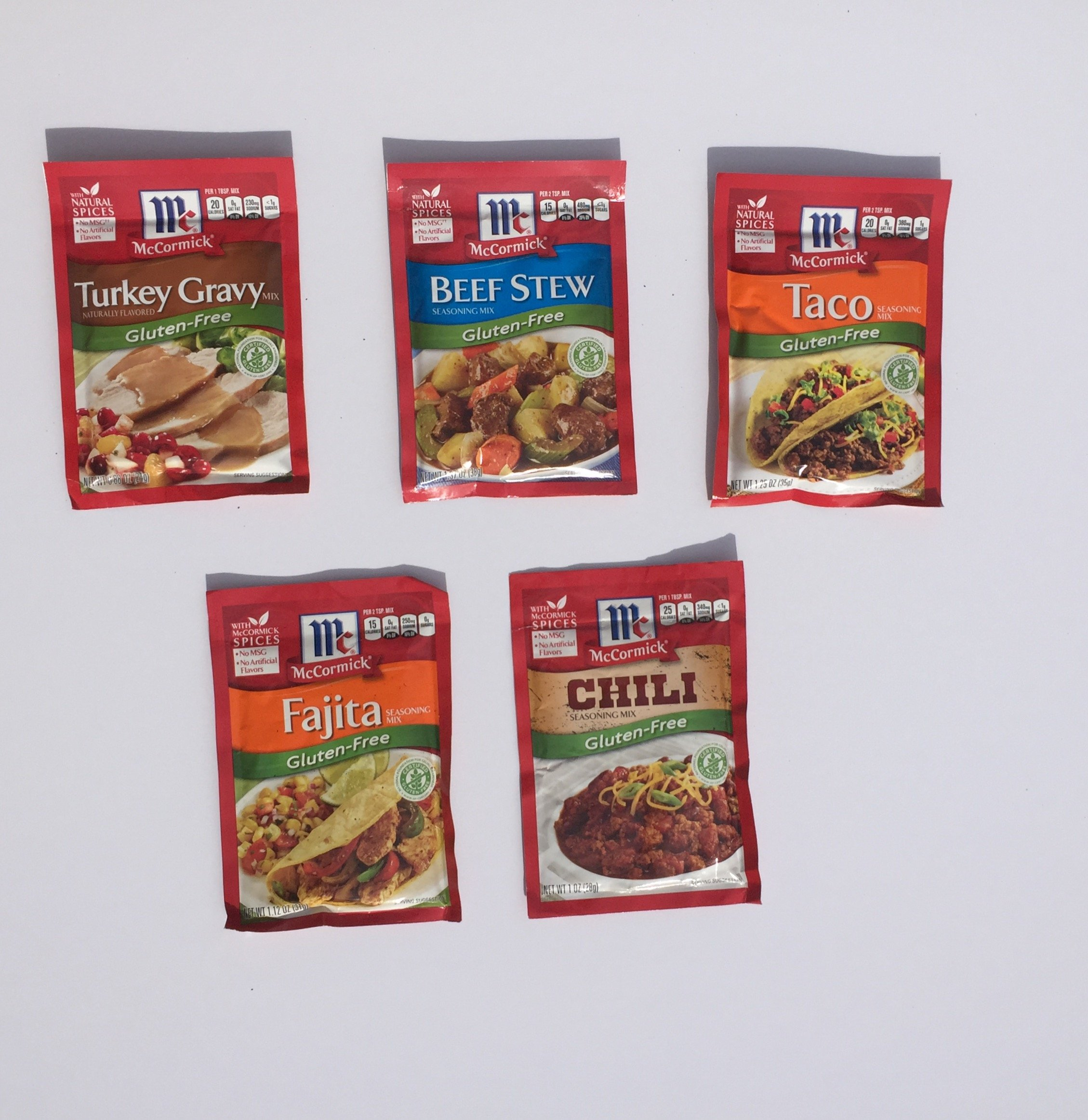 McCormick's Gluten Free Seasoning Variety Pack: Turkey Gravy Mix, Beef Stew, Taco, Fajita,Thick & Zesty Chili Seasoning Mix Plus a Bonus Free GF Guacamole Recipe from Zee Organics -5+ Items