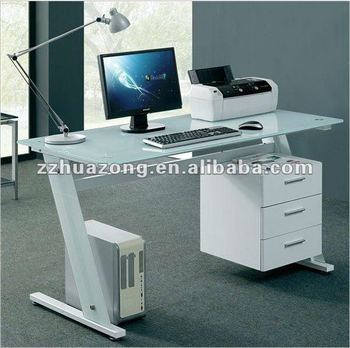 Black White Gl Computer Desk Pc Table Home Office And With Filing Cabinet