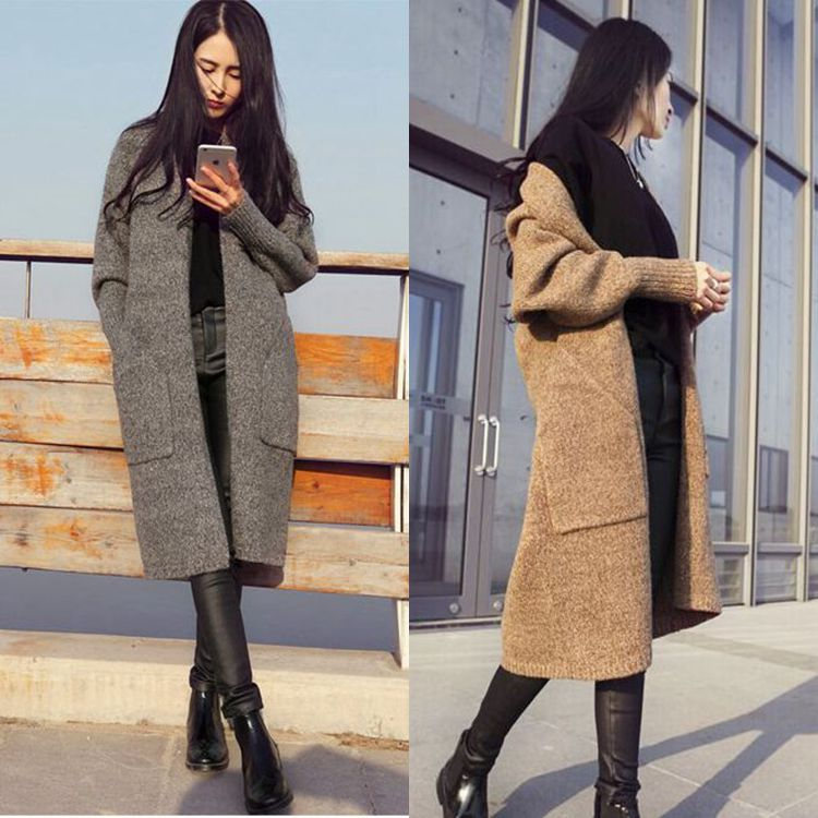 New Spring Autumn Knitted Sweater Women's Long Cardigan 2018