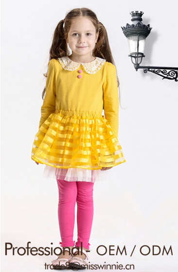 new spring clothes girls yellow retro lace stripe long sleeve dress fresh and elegant the princess dress