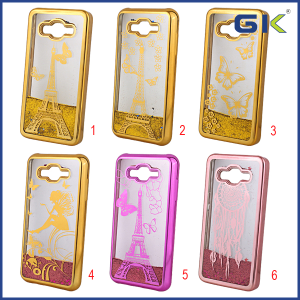 [GGIT] Electroplating Laser Etching Liquid Quicksand TPU Cell Phone Case For Samsung Galaxy J7 Cover