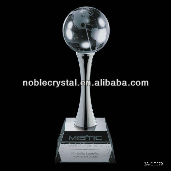 Edison Globe Earth Ball Crystal Award Trophy Souvenirs