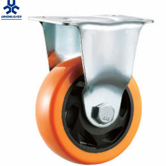 Medium Duty 4 inch Orange Double Ball Bearing PU PVC caster for Industry