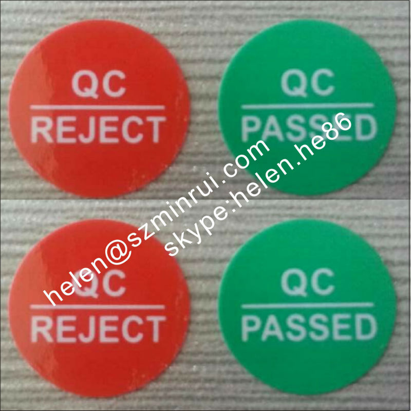 Red Qc Reject And Green Qc Passed Self Adhesive Round