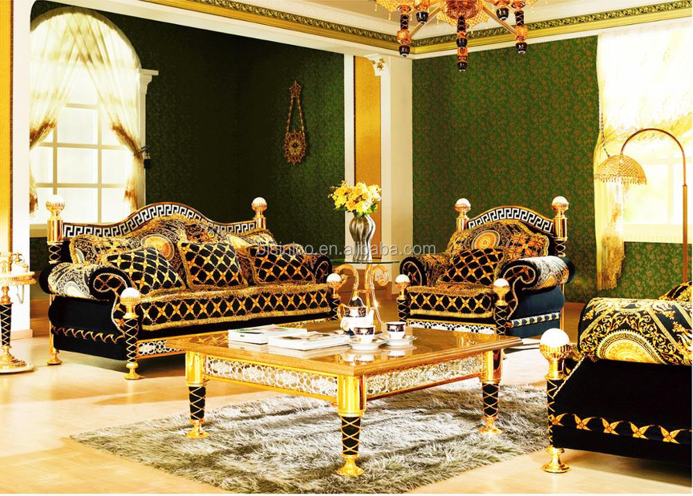 Arabic 18K Gold Plated Dining Room Table Set For 6 People Antique Baroque Design Brass