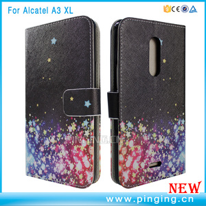 reputable site d3ecc 7d291 Customized pattern color painted card slot wallet flip case for alcatel a3  xl leather case