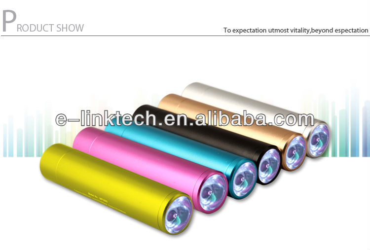 2012 hot selling portable mobile Power Bank Aluminum alloy 2600mAh Column
