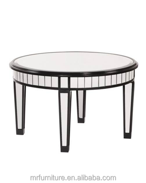 Round Mirrored Coffee Table In Black Wooden Tables Accent Product On