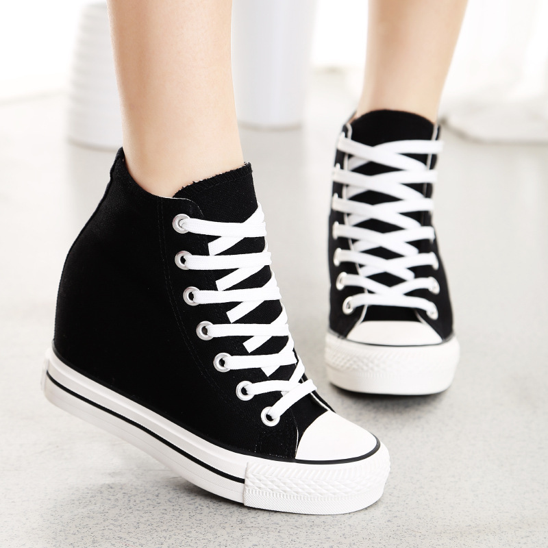 Womens Canvas High Top Platform Sneakers Tennis Shoes