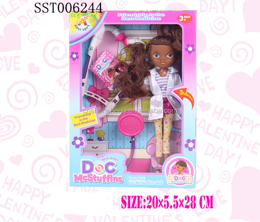 Fashion dress-up black <strong>doll</strong> with stethoscope, girl <strong>doll</strong> set toys