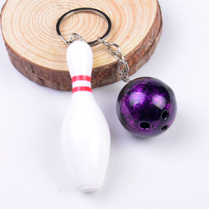 Sport style red blue purple green bowling shape plastic alloy bowling keychain