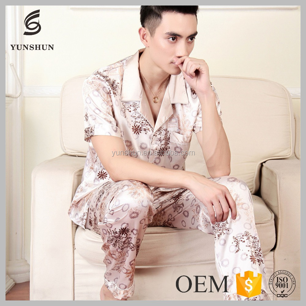 Men designs natural satin sleepwear Short sleeve silk pajamas set men