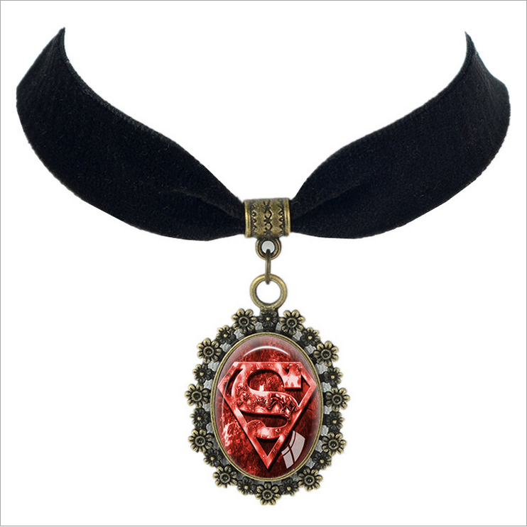 Gothic jewelry black velvet necklace superman pendant collar accessories choker necklaces for women