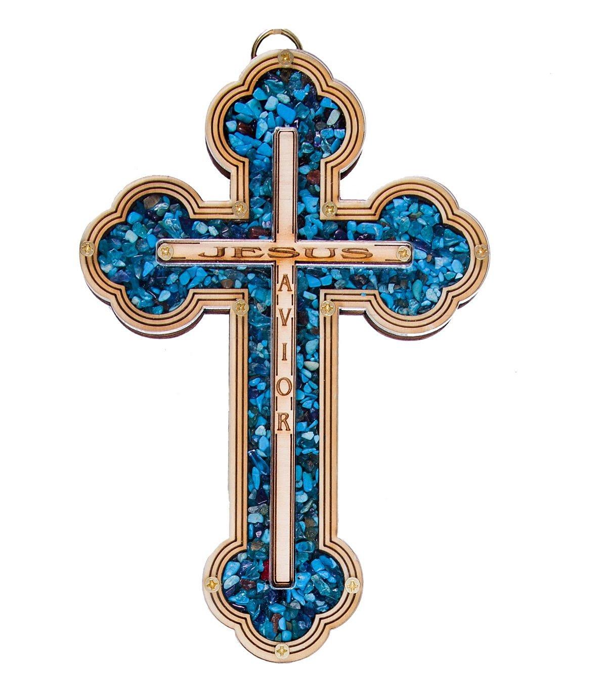Buy JESUS SAVIOR Wall Wood Cross with Natural TURQUOISE