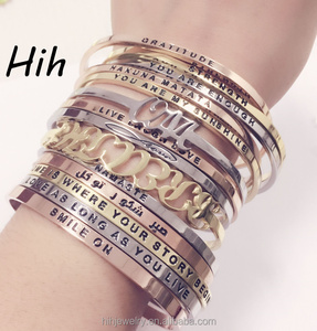 Custom stainless steel bangle quotes Engraved bracelets wholesale Trending jewelry