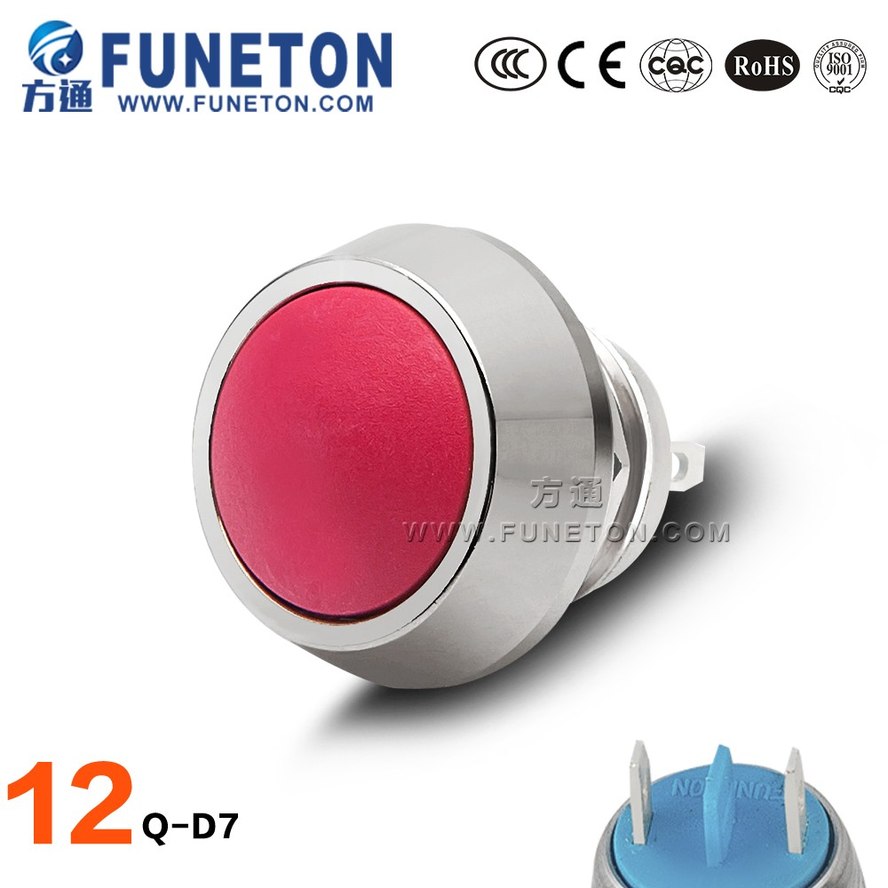 Momentary 12mm Waterproof stainless steel push button switch cover