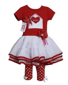 Short Sleeves Red Hearts Valentine Dress Leggings 2 Pieces Set