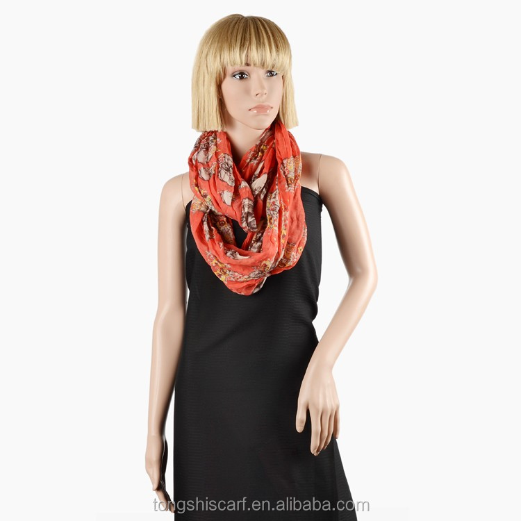 2016 Spring/Summer Lady's crinkled printed polyester voile round scarf loop scarf