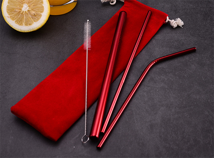 pink stainless steel straw with cleaning brush logo free