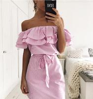 Fashion Casual Summer Women Dress Short Mini Striped Pattern Slash Neck Beach Sexy Dress Boho Cute Dress
