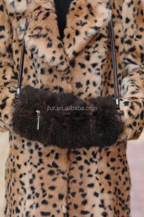 Luxury Mink Fur Muff Handwarmers Multi-Function Shoulder Bag With Zipper