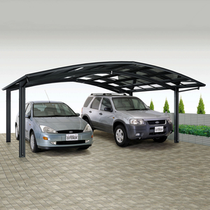 free standing modern double steel frame polycarbonate metal cantilever aluminum carport/garage