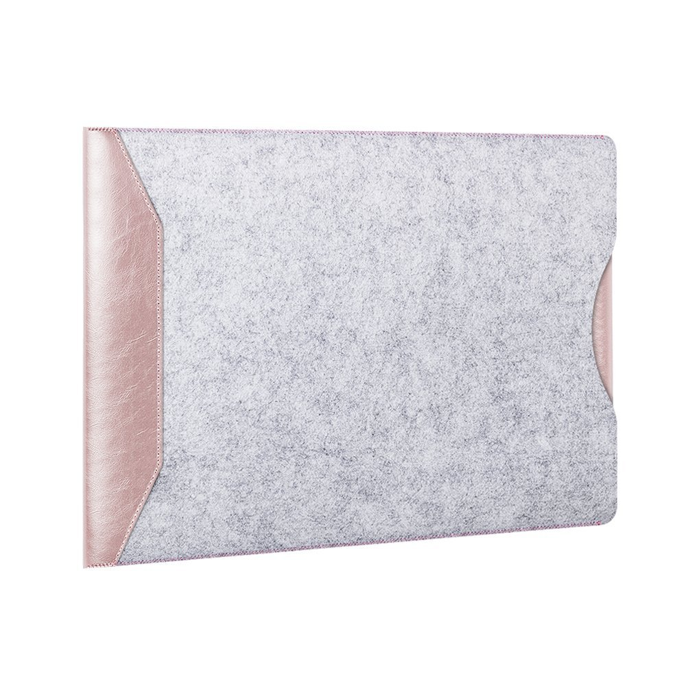 SUNGUY Microfiber Leather Sleeve Cover Bag for MacBook Air and Macbook Pro,Soft Sleeve Cover Bag Case with Flip Pad 13.3 Inches(Rose Gold)