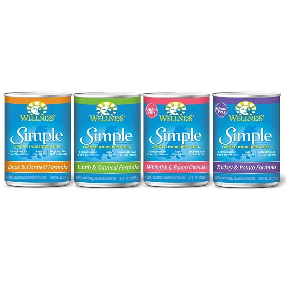 Wellness Simple Natural Limited Ingredients Wet Canned Dog Food (4 Flavors , 12 cans)