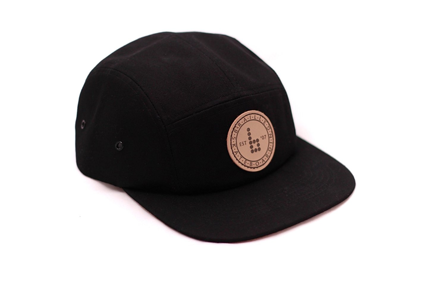 97a647e41a9 Get Quotations · Braille Skateboarding Original 5 Panel Hat. Adjustable  Leather Strap