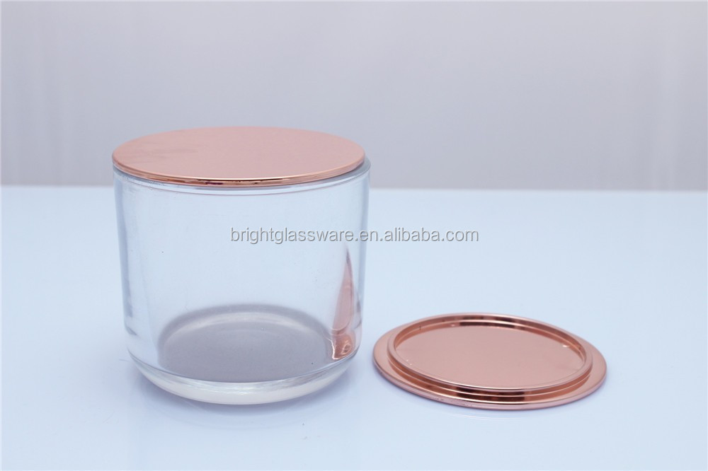 China Factory Rose Gold Plated Metal Lid For Glass Candle