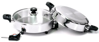 Oil Core Electric Skillet T304 Surgical Stainless Steel