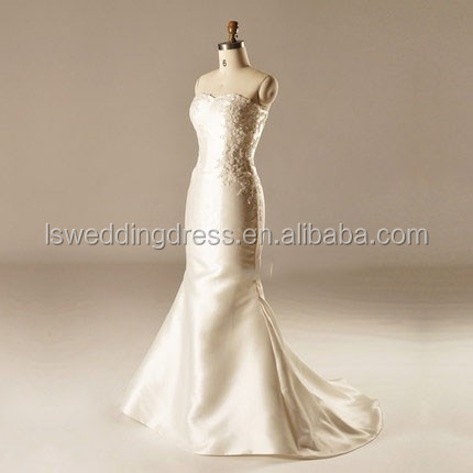 Ah1516 Strapless Lace Flower Corset Beige Bridal Gown With Short ...