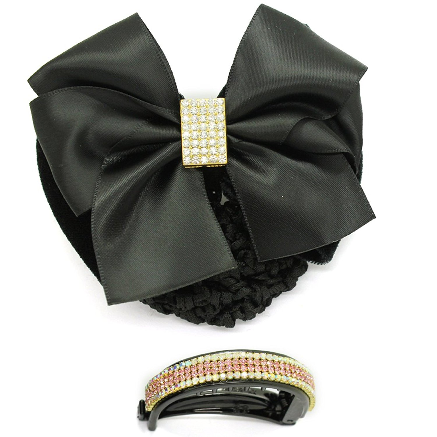 2 PACK - Womens / Girls Luxury Rhinestones Bow-Knot Hair Snap Clips - Black & Brown
