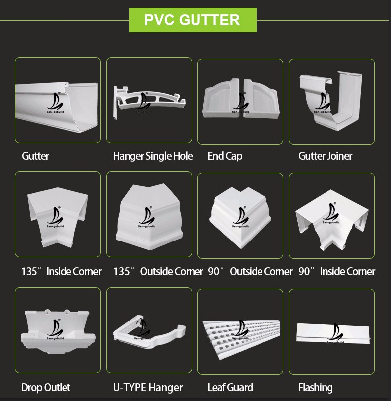 Pvc Gutter 5 2inch And 7inch Size White Brown Black Pvc
