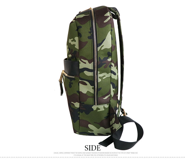 2019 oem custom logo Camouflage girls pu leather college backpack with metal chain