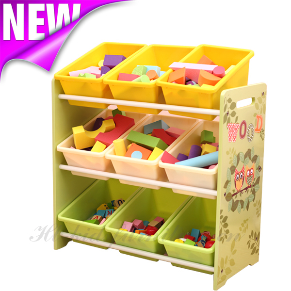 63x24x60(H)cm E1 MDF Easy Assembly Kids Toy Organizer With Nine Bins, Nice Bath Toy Organizer