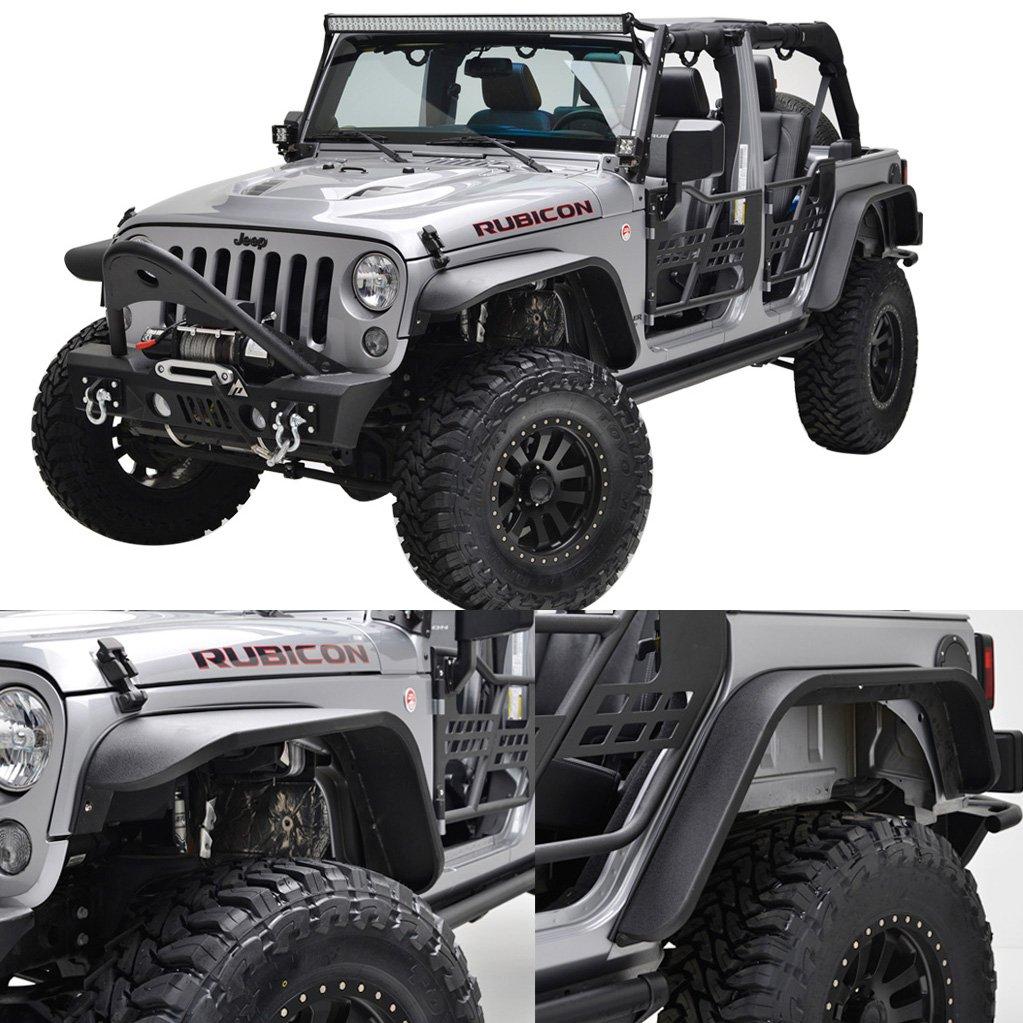 Get Quotations · EAG Steel Fender Flares Front + Rear for 07-18 Jeep  Wrangler JK