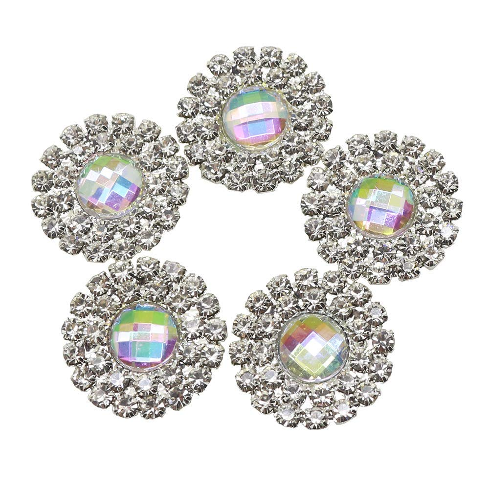 Lkeran 10pc 19MM round AB color Acrylic Double row shiny rhinestone buttons  flat back clothing metal d523f1da0e02
