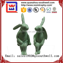 Lovely white ceramic bunny figurines easter decoration