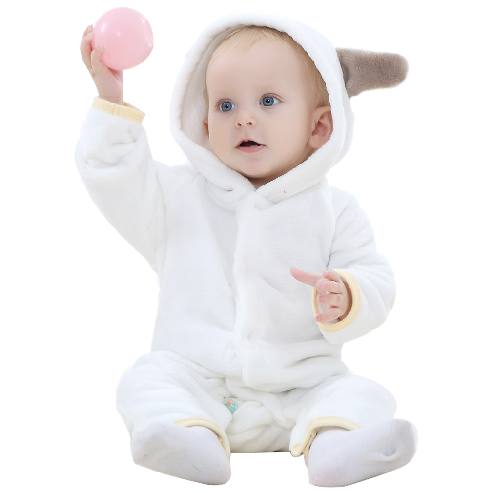 Unisex baby wear clothes flannel bear jumpsuits winter warm baby romper with animal hooded