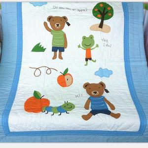 Cheap and Fine Applique Embroidery Bear patchwork Baby crib Kids Quilt