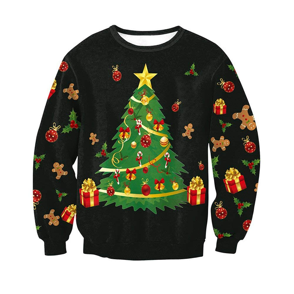 d2a6cbe5 Get Quotations · MuCoo Unisex Funny 3d Print Ugly Christmas Sweater  Crewneck Funny Xmas Sweatshirt