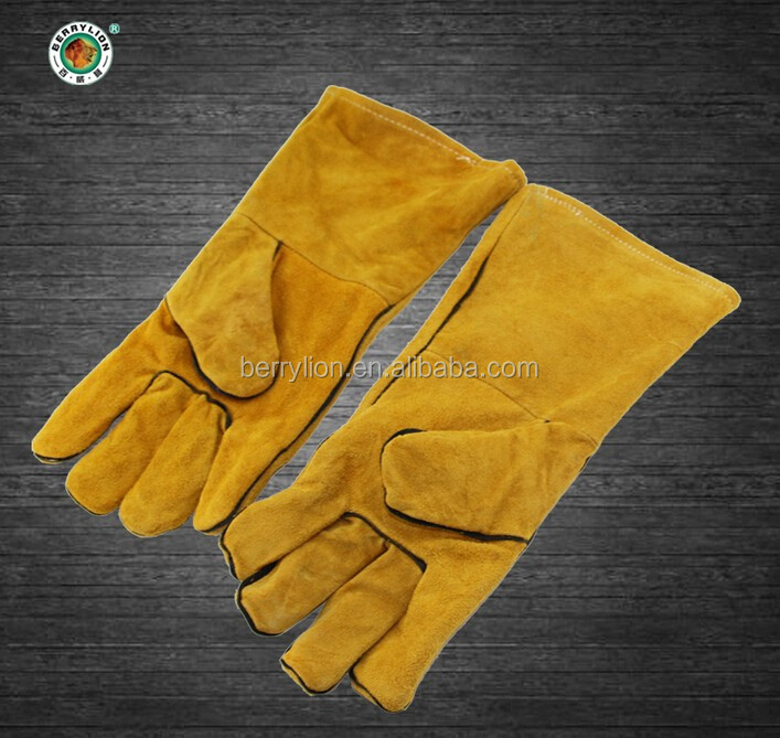 Berrylion high quality labour protection split leather hand gloves for sale