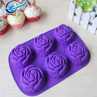 Best selling products hot selling amazon 6 cavity silicone rose cake mold