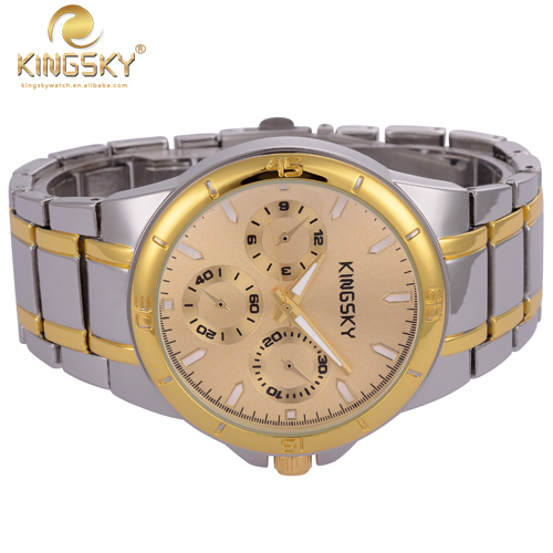 KINGSKY 120013 Fashion and Causal Women Wristwatch Round Shape Japan Quartz Alloy Material