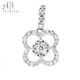Classical Luxury Diamond Engagement Jewellery Flower Shape 18k Gold Illusion Setting Diamond Pendant Floral Jewelry Set
