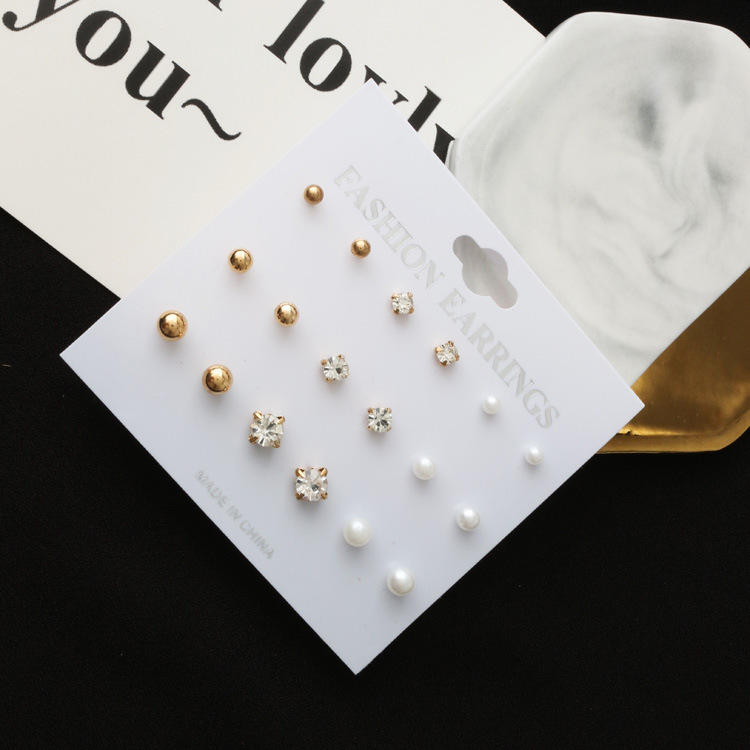 YWMT 2019 Gold Jewelry DIAMOND Round Ball 9 Piece <strong>Earring</strong> Set Crystal Rhinestone <strong>Pearl</strong> Fascinating <strong>Stud</strong> <strong>Earrings</strong> Women