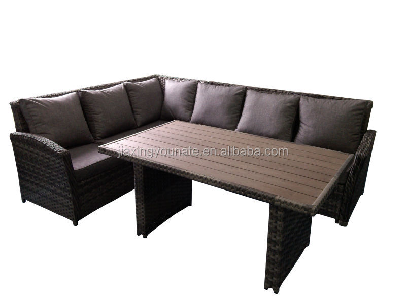 poly rattan garden furniture corner sofa set poly wood top table unt r 1132