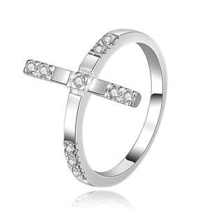 Tryme Free shipping new hot silver plated fashion jewelry Korean version Fashionable women Cross Crystal CZ Ring R403