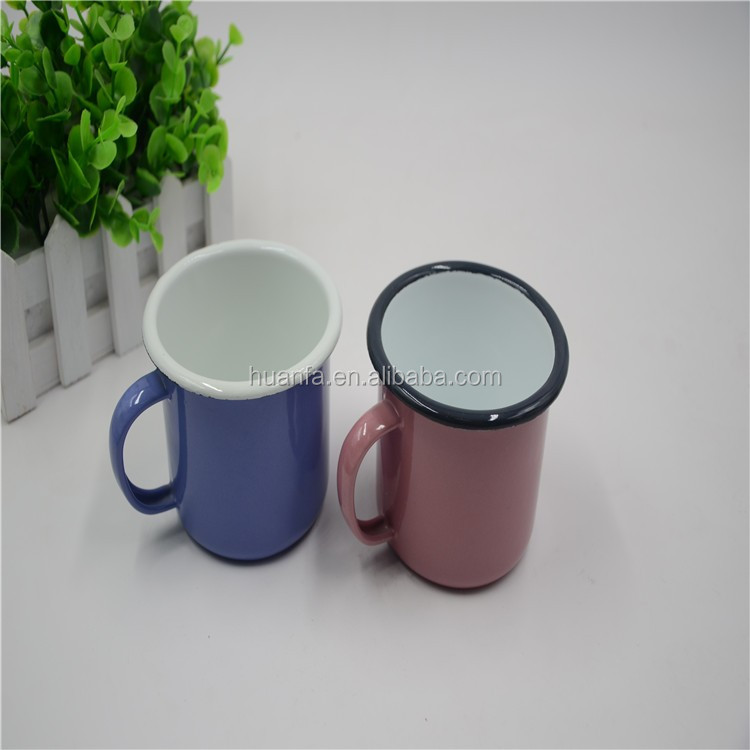 Amazon Hot Sale Coloured Rimmed Plain Enamel Decaled Enamel Mug/Cup 7/8/9/10cm different size Steel Enamel Coffee Mug